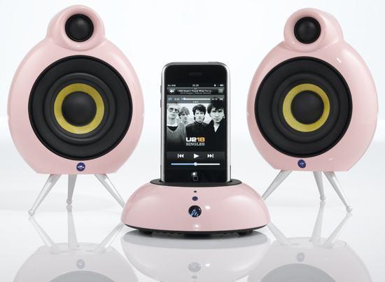 Pink Dock Pack: Caixas de Som com Dock para iPod e Amplificador