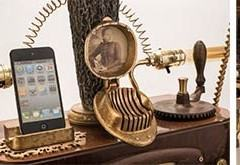 Um gramofone com dock para smartphones em estilo steampunk
