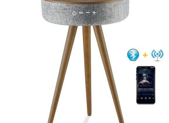 Mesinha Smart Table com Bluetooth, projeção de som 360° e carregador sem fio