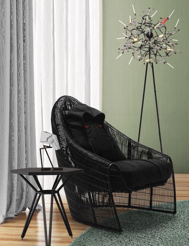 Cadeira Darth Sidious, bancos Tie-Fighter, luminárias sabres de luz e AT-ST fazem parte da linha de móveis de luxo inspirada em Star Wars