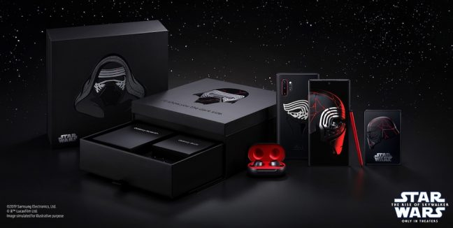 Caixa do Note 10+ Star Wars Edition com Galaxy Buds pretos