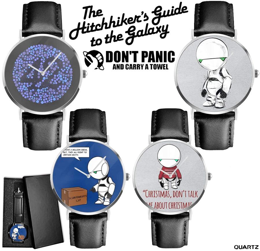 Relógios do Guia do Mochileiro das Galáxias em Homenagem a Douglas Adams no Dia da Toalha miniatura