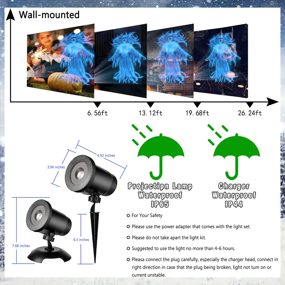 Fluttering Female Ghost LED Projector