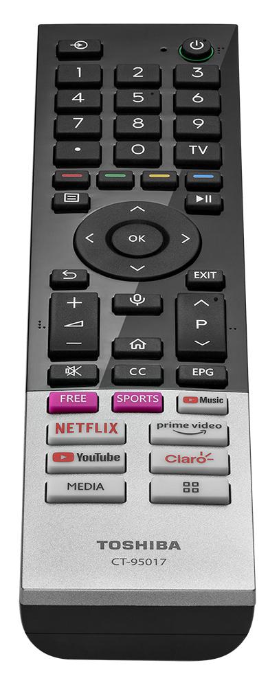Controle da TV 4K da Toshiba, que está de volta ao Brasil