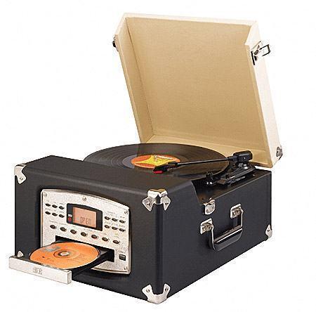 Toca-Discos Portátil Estilo Retro com Rádio e CD