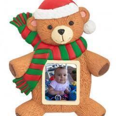 Enfeite de Natal de Urso com Porta-Retratos Digital