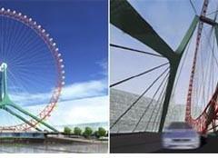 Tianjin Eye Uma Roda Gigante Sobre Uma Ponte