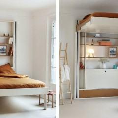 Uma cama elevador que sai do caminho na hora que você acorda