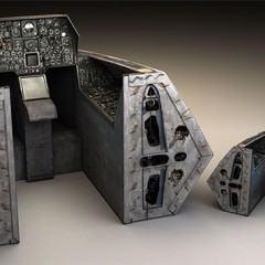 Um cockpit feito de papelão