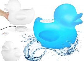 Caixa de Som para Banheira: Patinho de Borracha com LED Multicolorido e Bluetooth