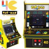 PAC-MAN 40 Anos Mini Arcade Jogável com Detalhes em Ouro