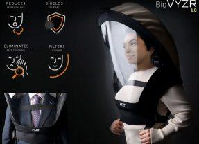 Máscara BioVYZR com proteção 360 graus e sistema de purificação de ar com 3 filtros N95