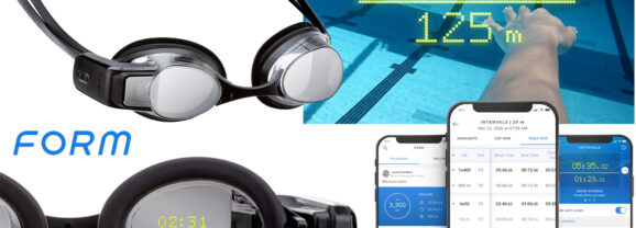 """Óculos de Natação """"FORM Smart Swim"""" com Visor Inteligente que Mostra Métricas na Lente!"""