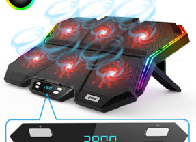 Apoio IPOW RGB para Gaming Laptops com 6 Ventiladores e Luzes LED Coloridas