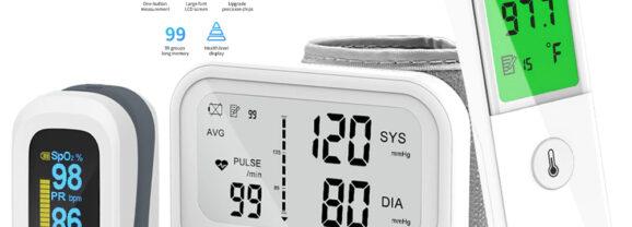 Kit Gadgets de Saúde Yongrow: Oxímetro, Termômetro e Medidor de Pressão